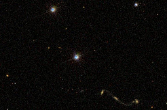 A New Galaxy Merger in the Shape of a Violin Clef
