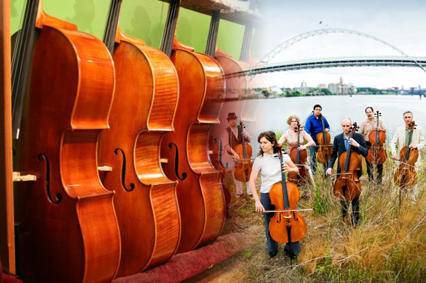 Image of Cellos and Members of Portland Cello Project
